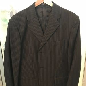 Jones NY Mens Black w/White Striped Suit